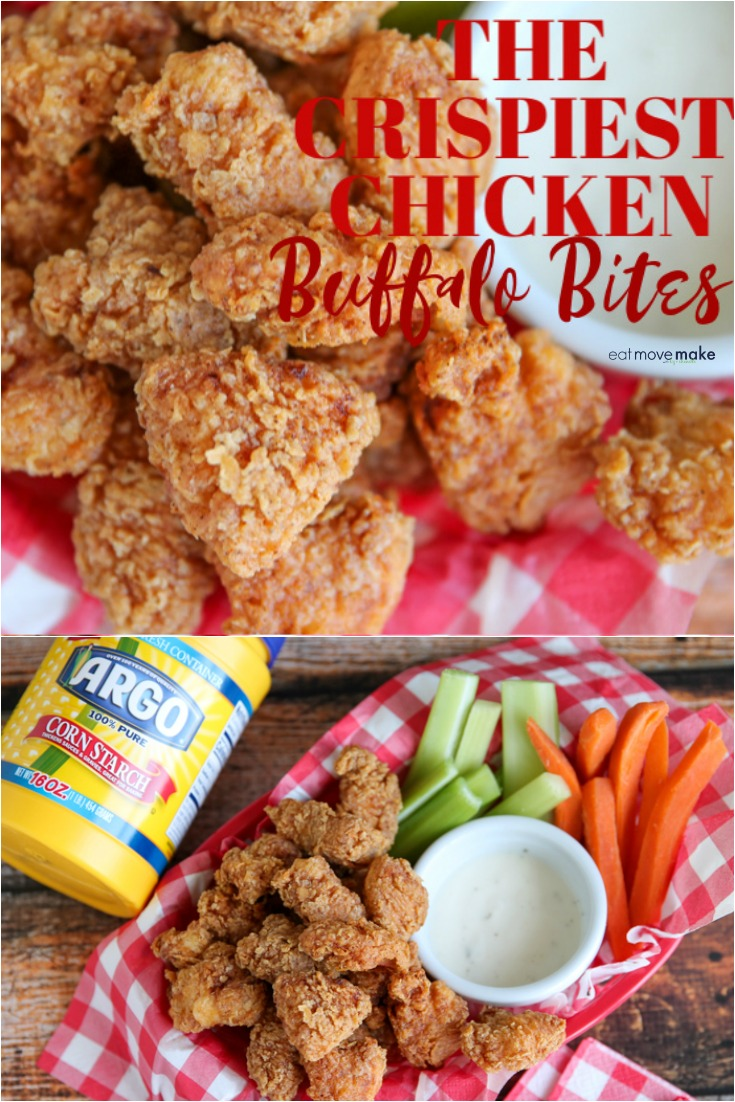 crispiest chicken buffalo bites in basket with celery and carrots