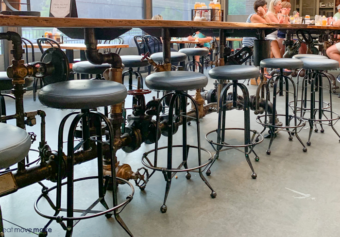 bar stools by table