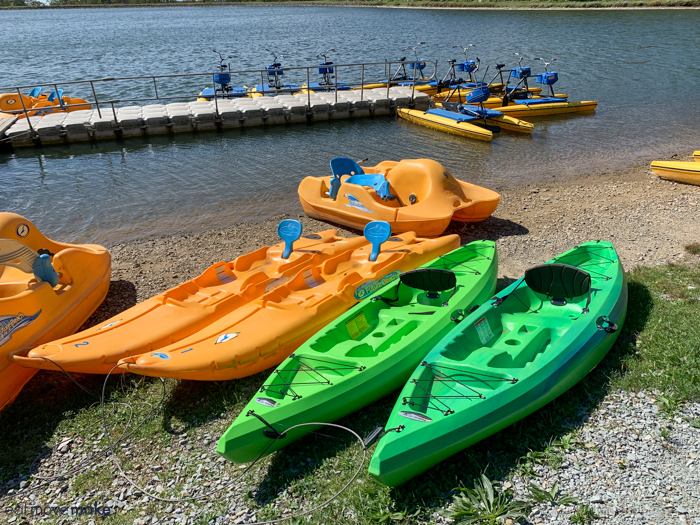 A group of orange and green boats in the water