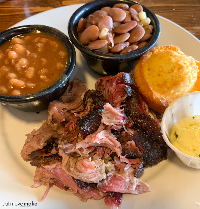 BBQ and beans on a plate