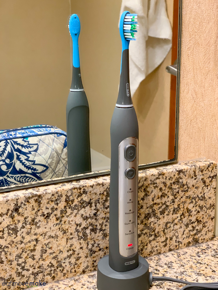 electric toothbrush on bathroom counter