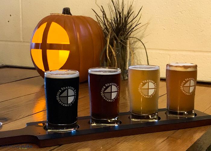 beer flight at Four Seasons Brewing