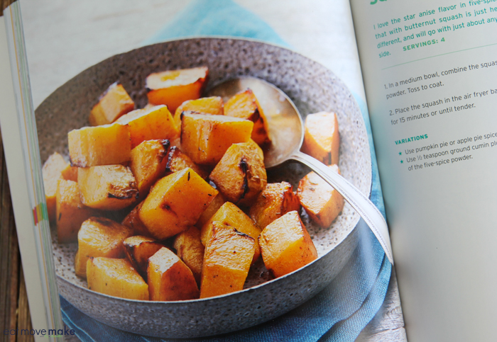 cookbook page with photo of spiced butternut squash recipe