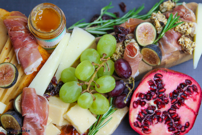 fruit on cheese tray grazing board