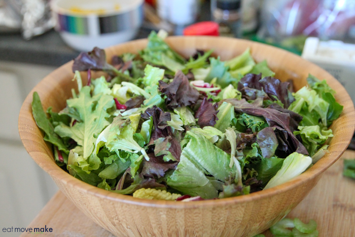 A bowl of salad greens