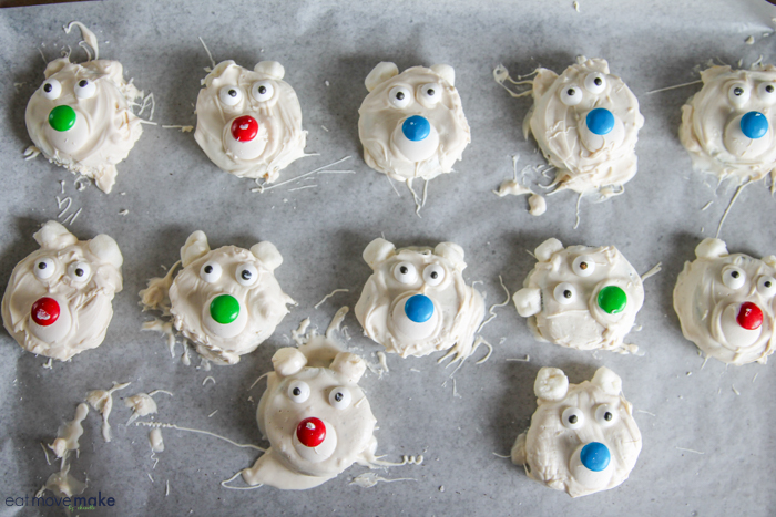polar bear cookies on wax paper drying