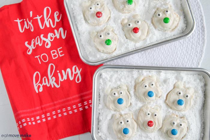polar bear cookies on tray