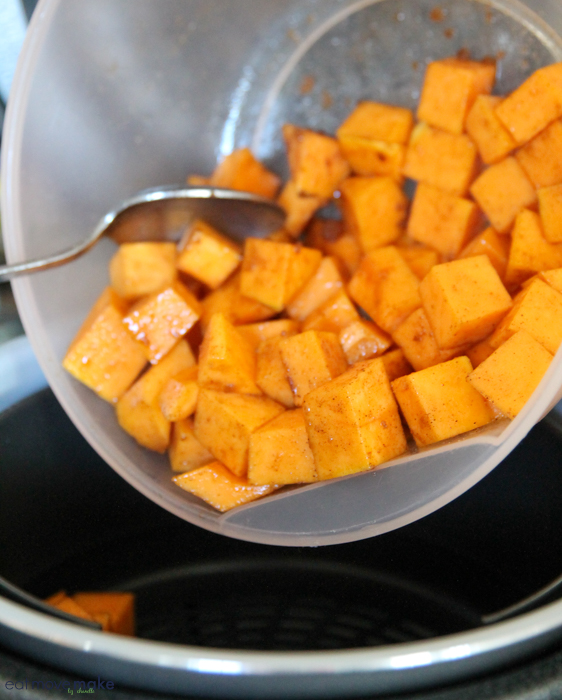 squash pieces cut and in bowl