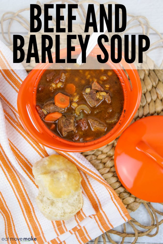 beef and barley soup in bowl