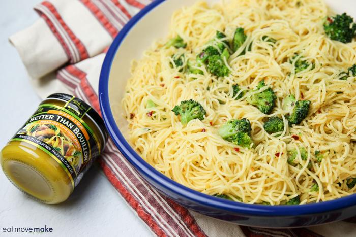 garlic broccoli pasta in large serving bowl