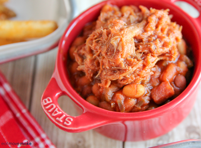 skillet baked beans in red crock