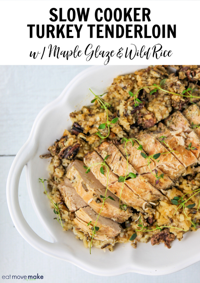 maple glazed slow cooker turkey tenderloin in serving dish
