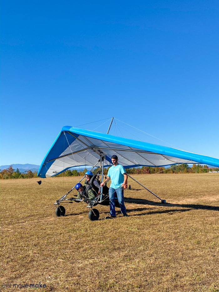 A man by hang glider