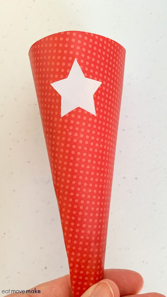 paper cone with star cutout