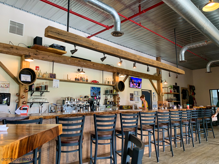 bar with barstools in restaurant