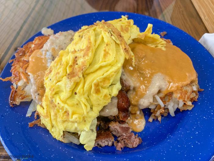 Food on a blue plate