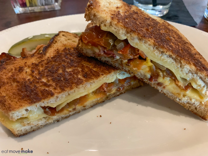 bacon, cheese, tomato jam, grilled onion sandwich