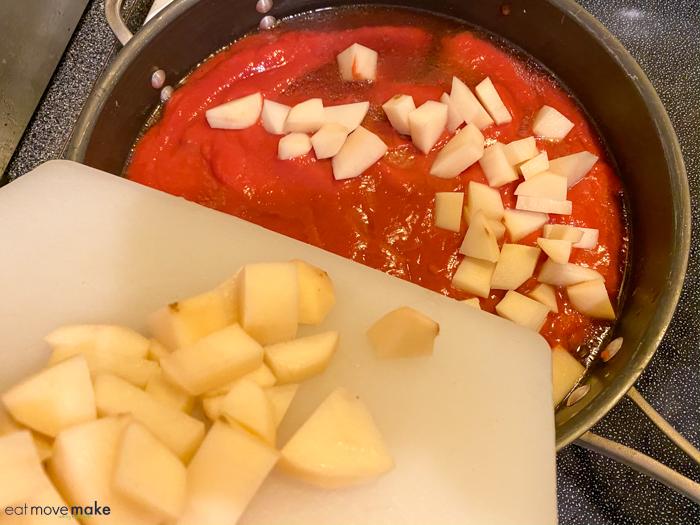 add onions to tomato mixture
