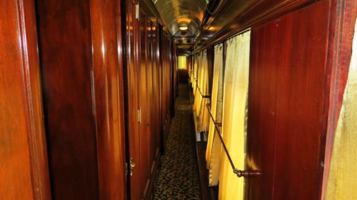 very narrow hallway in rail car