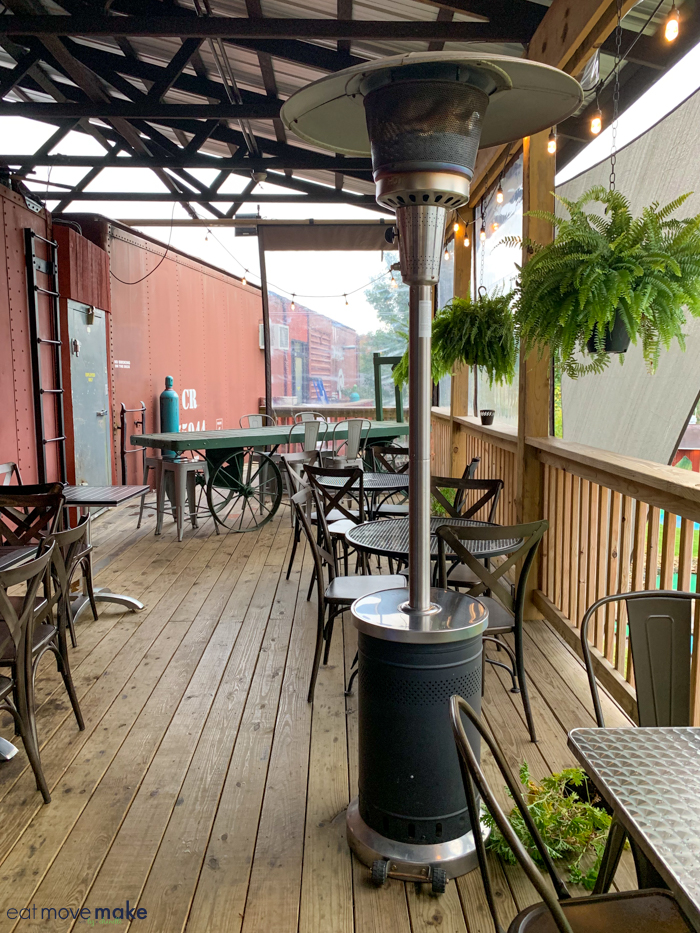 outdoor seating at Box Car Brew Works