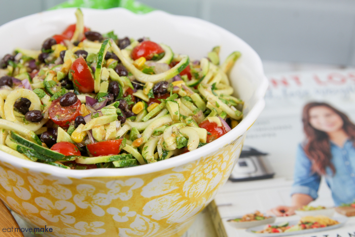 A bowl of zoodles salad