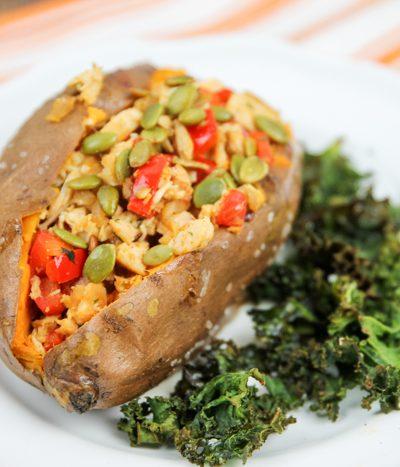 chicken kiev loaded sweet potatoes