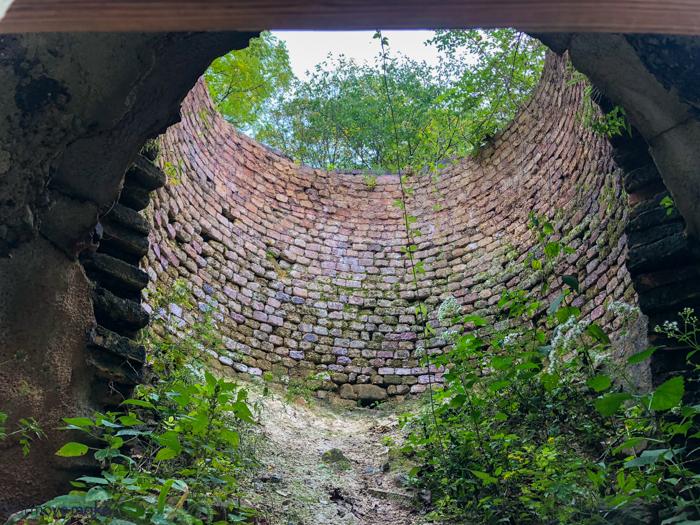 inside old limestone kiln