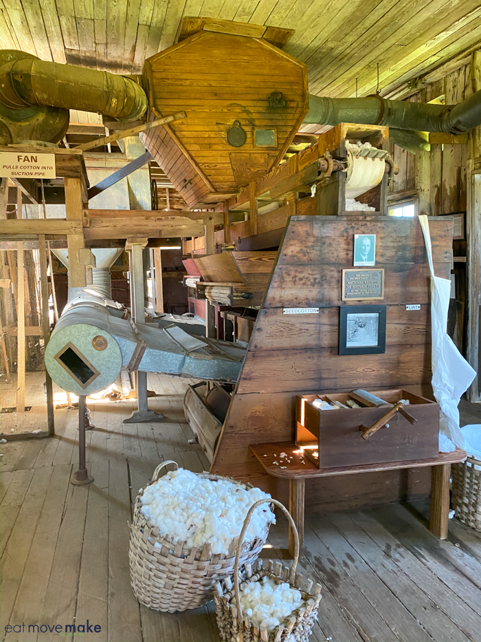 cotton gin and basket of cotton