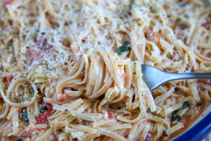 forkful of basil and brie pasta