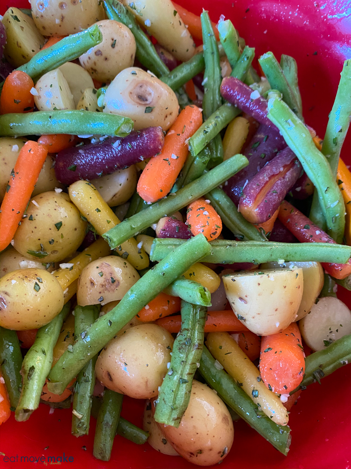 seasoned veggies ready for roasting