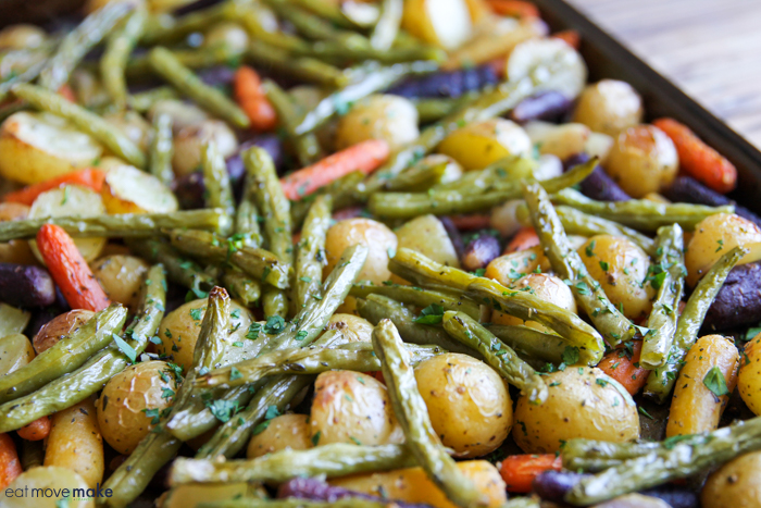 sheet pan with roasted carrots, potatoes and green beans