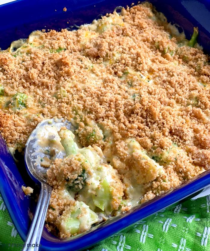 broccoli cheese casserole in blue dish