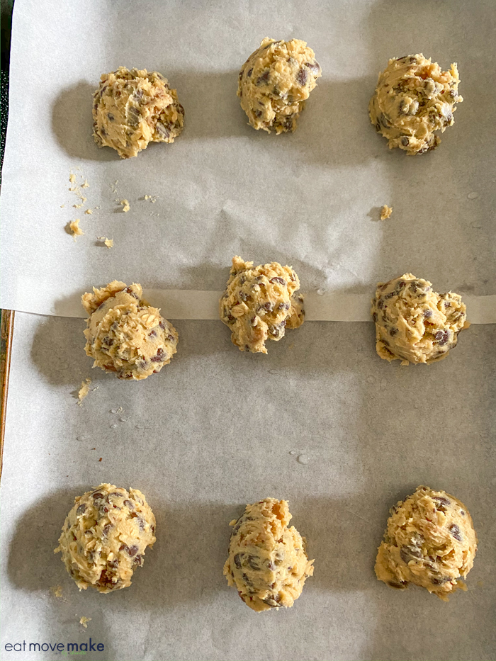 doubletree chocolate chip cookies ready for baking