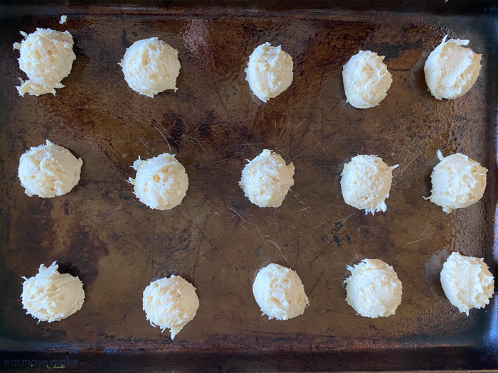 pineapple drop cookies on baking sheet