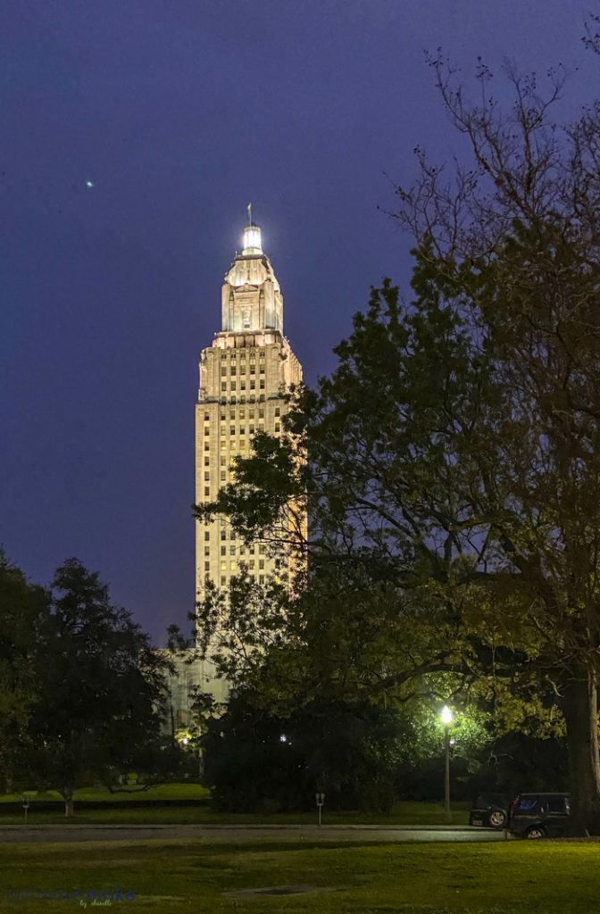 Louisiana new state capitol building lit up at night