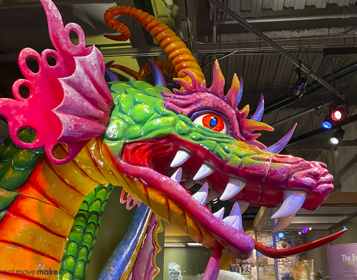 Mardi Gras dragon head at Capitol Park Museum