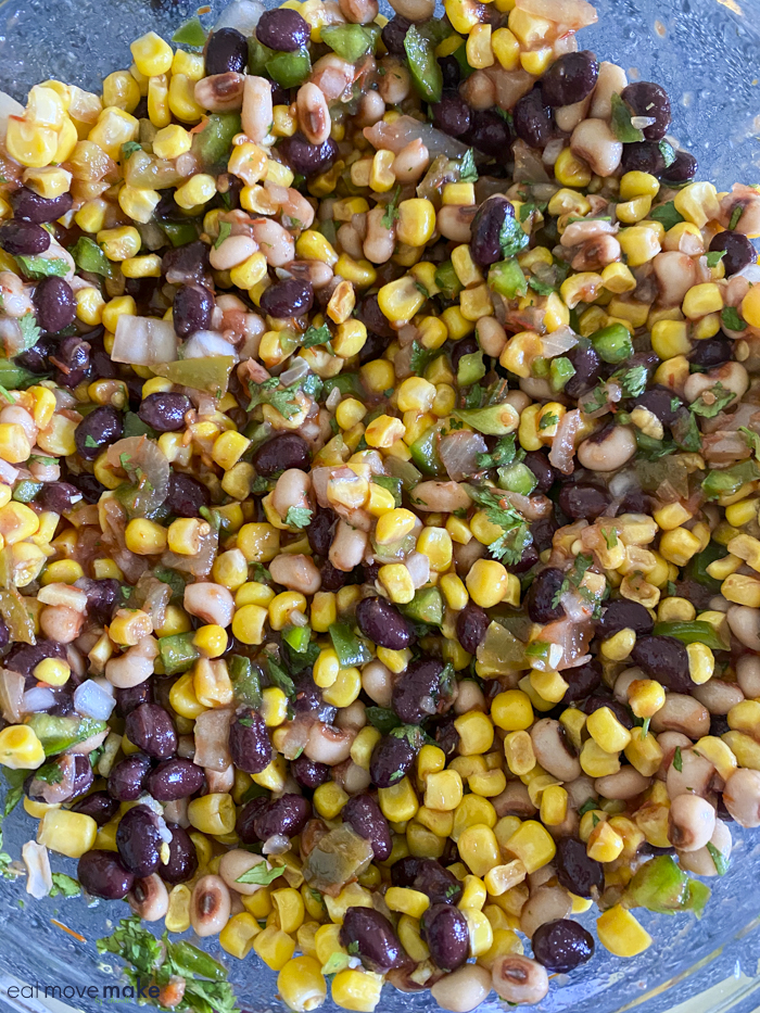 black bean and corn salad in mixing bowl