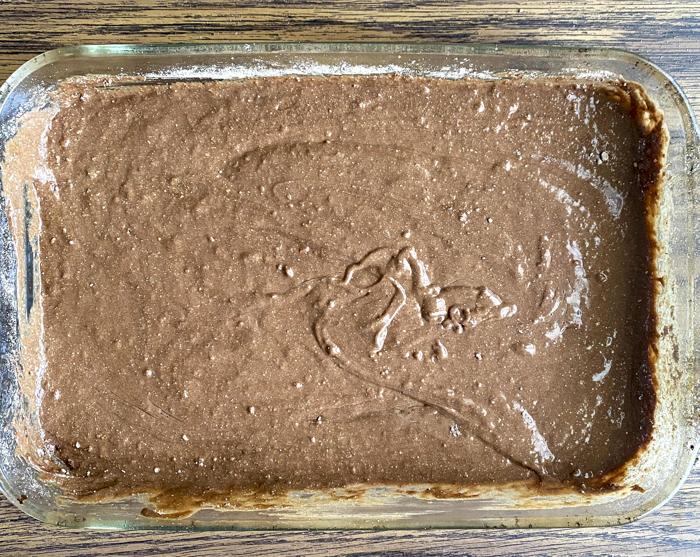cake batter mixed in baking pan