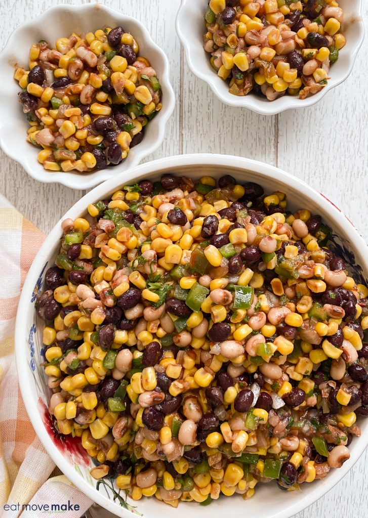 corn and black bean salad in bowls
