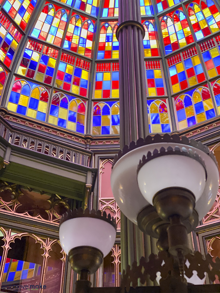 lights and stained glass of rotunda - Old Capitol Baton Rouge