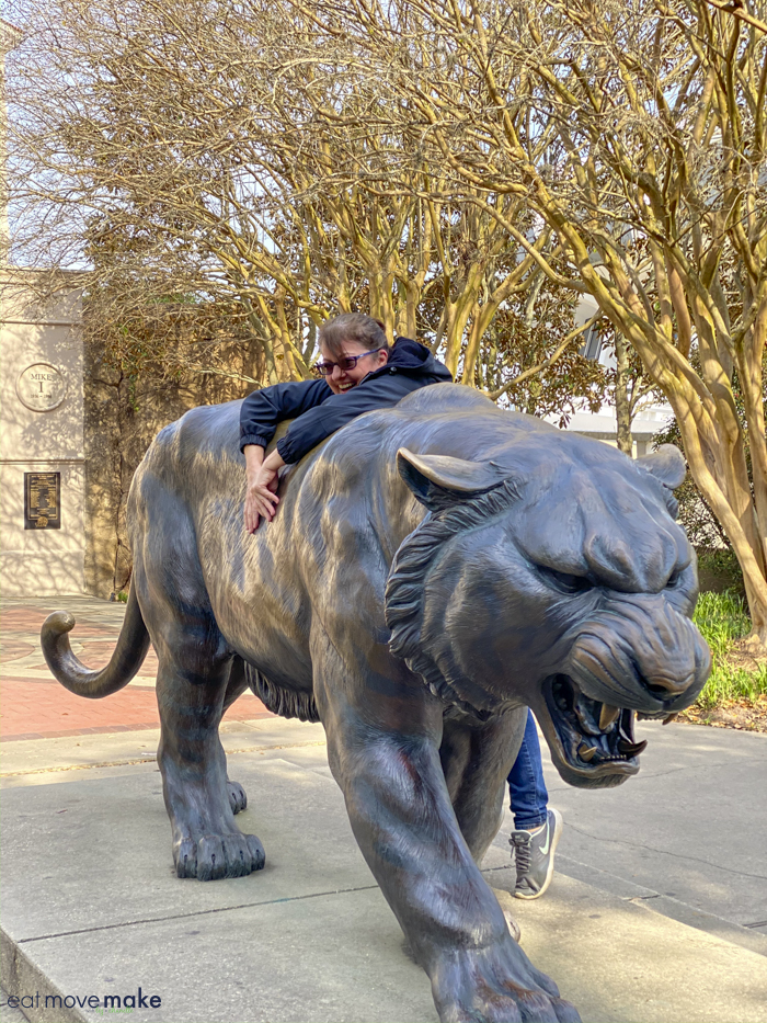 me climbing LSU Mike the Tiger statue