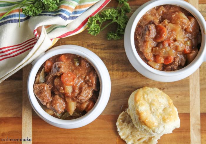overhead photo of crockpot beef stew