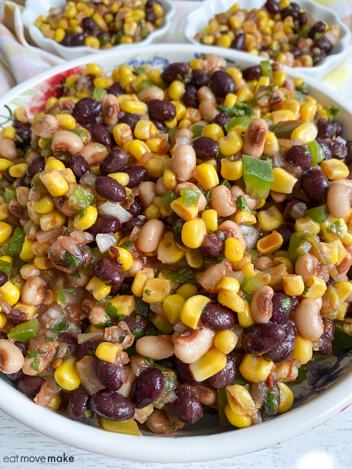 serving bowl of corn salad