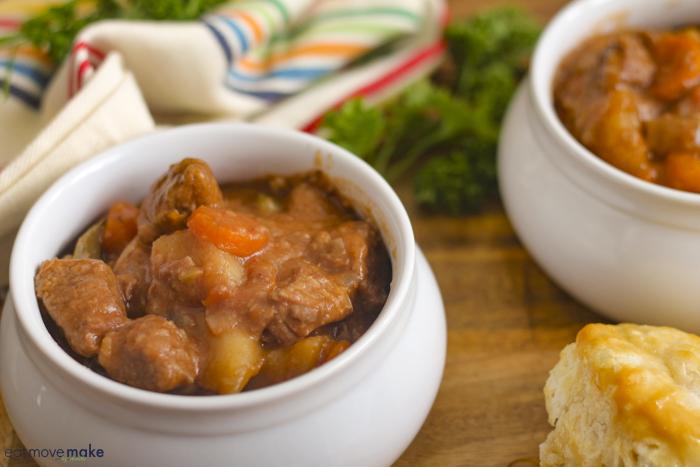 slow cooker beef stew in crocks