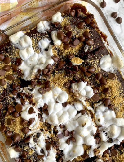s'mores cake on table