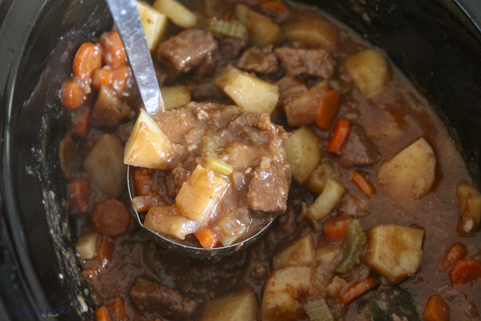 spoonful of crockpot beef stew