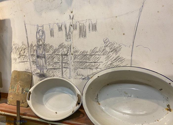wall sketches and artifacts - LSU Rural Life Museum