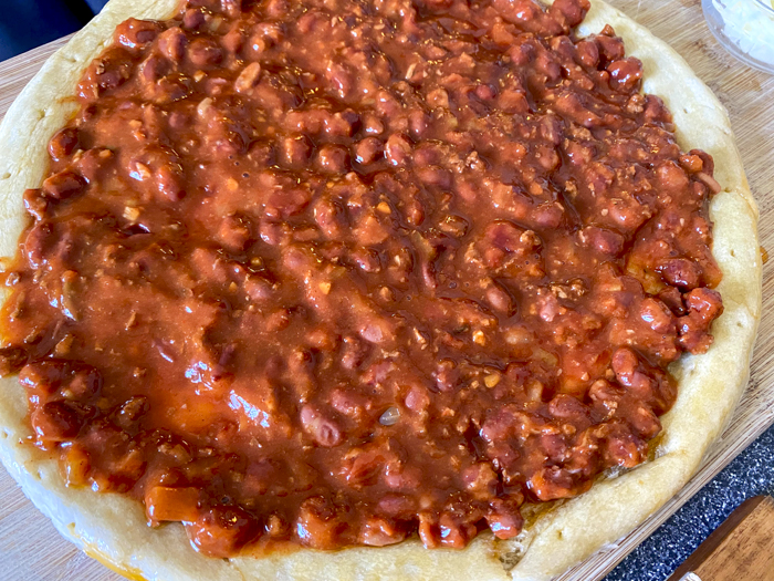 chili with beans on pizza