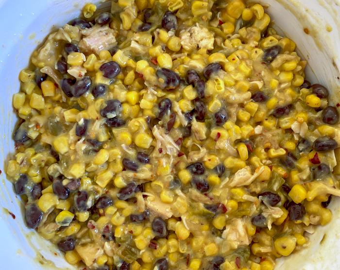 corn casserole before baking