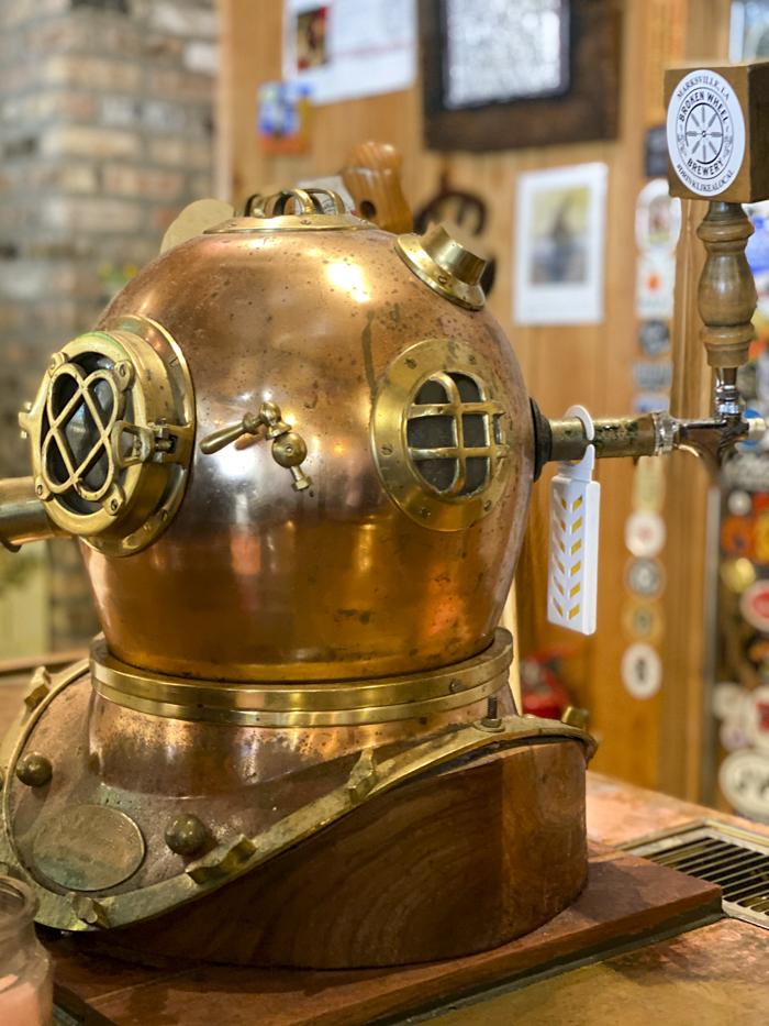 diving helmet tap at Broken Wheel Brewery